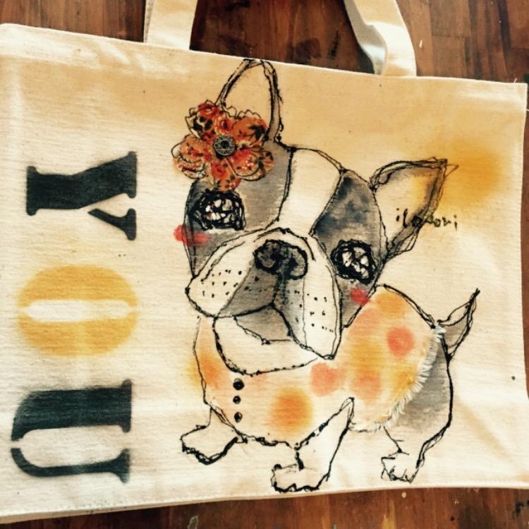 ペットの似顔絵バック ランチバックサイズ 【Art Bagシリーズ  iLodori aico】オーダーメイド -2