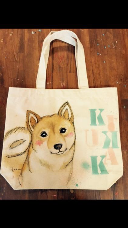 ペットの似顔絵バック 【Art Bagシリーズ  iLodori aico】オーダーメイド トートバックLONGサイズ