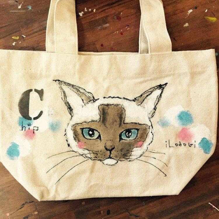 ネコの似顔絵バック 猫  ランチバックサイズ 【Art Bagシリーズ  iLodori aico】オーダーメイド--8