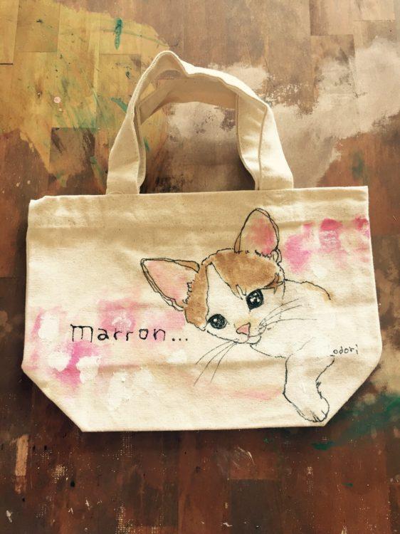 ネコの似顔絵バック 猫  ランチバックサイズ 【Art Bagシリーズ  iLodori aico】オーダーメイド--5