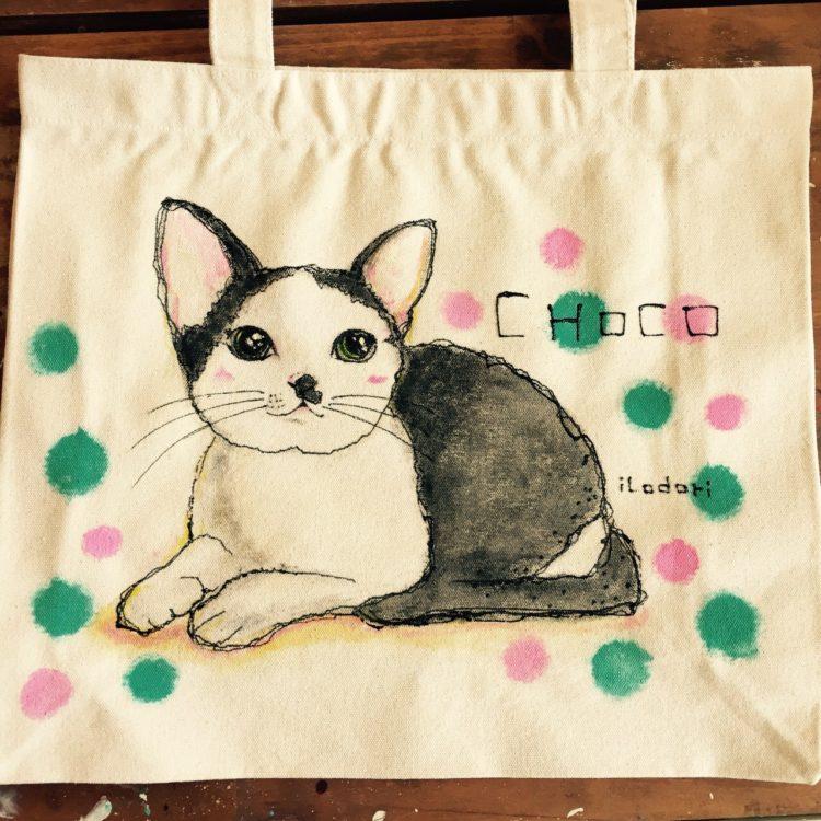 レッスンバッグはペットの似顔絵バッグ--2猫MIX