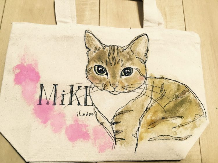 ネコの似顔絵バック 猫  ランチバックサイズ 【Art Bagシリーズ  iLodori aico】オーダーメイド--3
