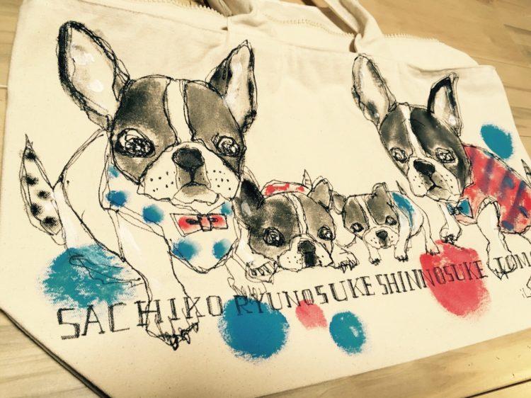 ペットの似顔絵バック  ママバックサイズ 【Art Bagシリーズ  iLodori aico】オーダーメイド--20フレンチブルドックのバック