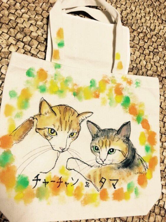 ネコの似顔絵バック 猫  ランチバックサイズ 【Art Bagシリーズ  iLodori aico】オーダーメイド--2