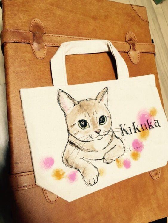 ネコの似顔絵バック 猫  ランチバックサイズ 【Art Bagシリーズ  iLodori aico】オーダーメイド--4