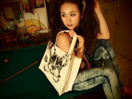 ペットの似顔絵バック  トートバックMサイズ 【Art Bagシリーズ  iLodori aico】オーダーメイド--1フレンチブルドックのバック--3