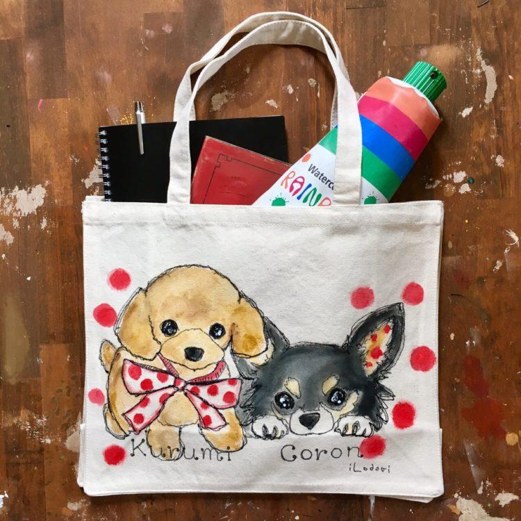 レッスンバッグはペットの似顔絵バッグ--プレゼント