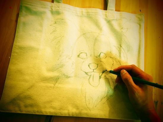 ペットの似顔絵バック  ランチバックサイズ 【Art Bagシリーズ  iLodori aico】オーダーメイド