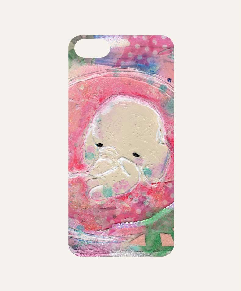 iPhone ケースカバー ゾウの赤ちゃんおなかの中