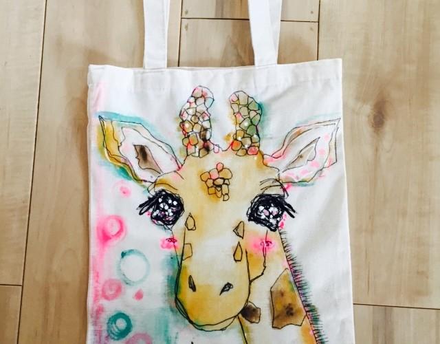 ペットの似顔絵バック  トートバックLONGサイズ 【Art Bagシリーズ  iLodori aico】オーダーメイド