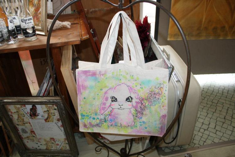 ペットの似顔絵バック  トートバックMサイズ 【Art Bagシリーズ  iLodori aico】オーダーメイド