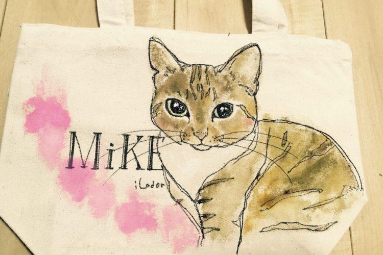 ネコの似顔絵バック 猫  ランチバックサイズ 【Art Bagシリーズ  iLodori aico】オーダーメイド
