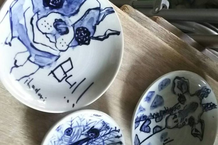 フレンチブルドッグ 皿   サイズ直径9cm オーダーメイドとカップのセット