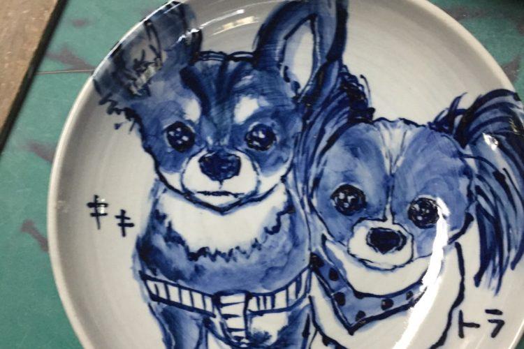 ペットの似顔絵でつくる皿(深皿24cm)