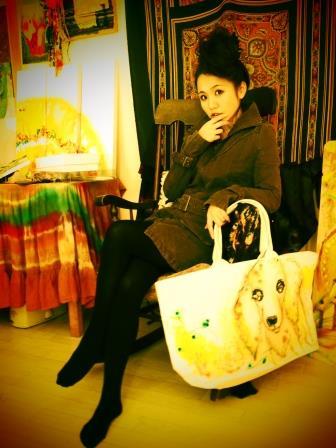 ペットの似顔絵バック  ママバックサイズ 【Art Bagシリーズ  iLodori aico】オーダーメイド