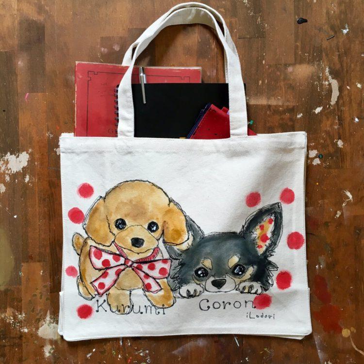 レッスンバッグはペットの似顔絵バッグ